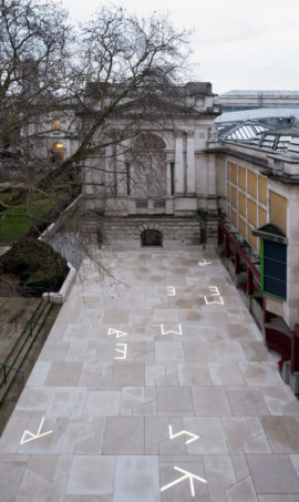 Martin Boyce, Clore Courtyard Commission, Tate Britain, January 2018. Copyright: Tate photography and Joe Humphrys