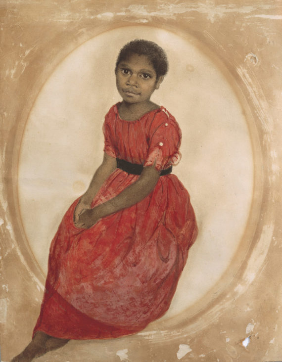 Thomas Bock 	(1790 - 1855)	Mathinna (1842), watercolour	30.2 x 24.9 (irregular). Presented by Mrs J H Clark, the artist's grand-daughter,1951. Thomas Bock, Ikon Gallery, Birmingham, 6 December 2017 - 11 March 2018, ikon-gallery.org Courtesy: Ikon Gallery