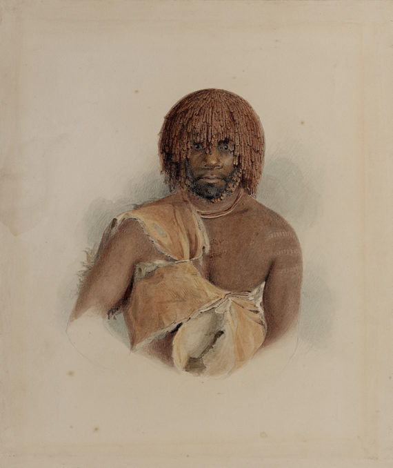 Thomas Bock, Untitled, Wurati (Woureddy), 1831, drawing, watercolour, © The trustees of the British Museum. All Rights Reserved.  Thomas Bock, Ikon Gallery, Birmingham, 6 December 2017 - 11 March 2018, ikon-gallery.org Courtesy: Ikon Gallery