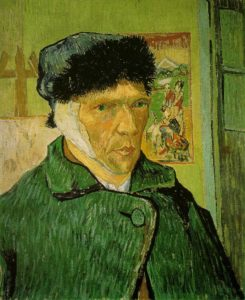A self-portrait by Vincent van Gogh with a bandaged ear. On display at The Courtauld Institute, London. Vincent van Gogh [Public domain], via Wikimedia Commons (https://commons.wikimedia.org/wiki/File:VanGogh-self-portrait-with_bandaged_ear.jpg)