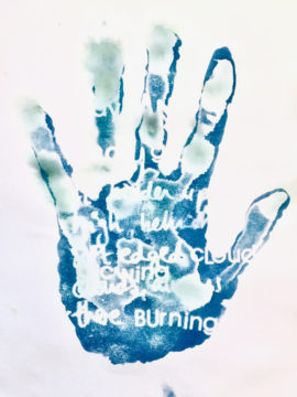 Cyanotype Hand print made as research by James Aldridge
