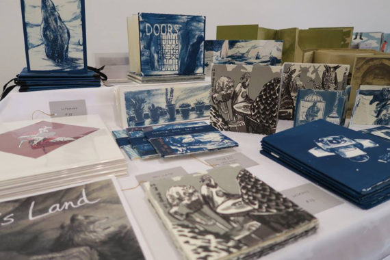 Cécile Simonis and Catherine Hiley's work on display at the Artists' BookMarket in 2016. They will be sharing a table again this year. Photo: Cécile Simonis