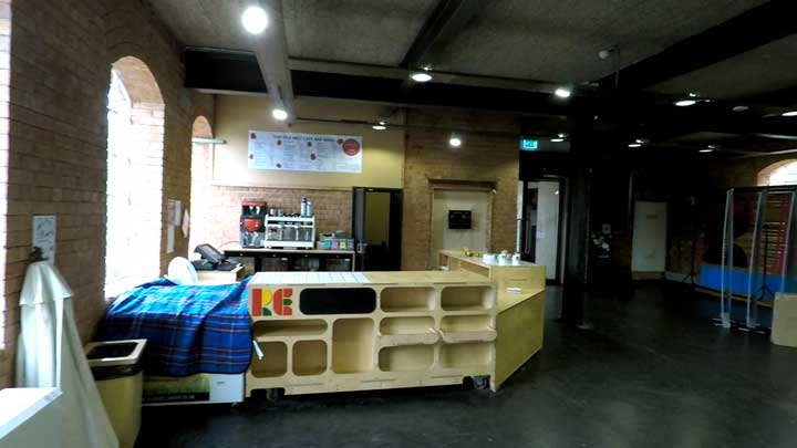 the coffee bar in the silk mill nuseum following the weeping window installation