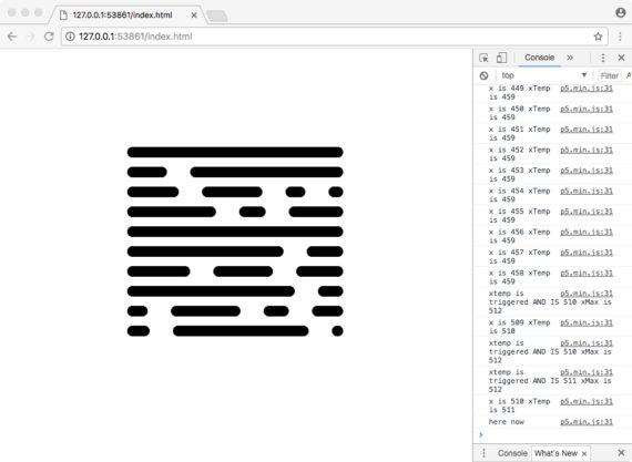 screen grab of debug screen of p5js sketch