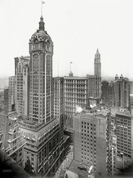 Singer Building 1908 Singer Corp. pioneered business innovations to sell their ubiquitous sewing machines, such as hire-purchase agreements, patent pools and multi-national trade. The Singer Building was completed just after the Panic of 1907, and demolished just 60 years later.