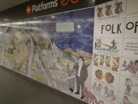 Alasdair Gray, All Kinds of Folks, mural at Hillhead subway station, Glasgow. Photo: The Justified Sinner (https://www.flickr.com/photos/the_justified_sinner/16365364835). CC BY-NC-SA 2.0