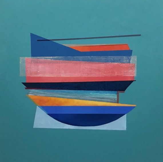 Philippa Tunstill, Marine, oil on board, 80x80x4cm.