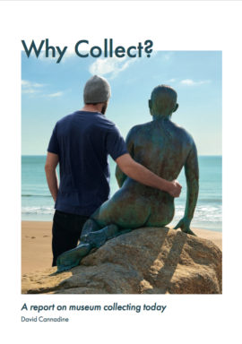 Cover of Why Collect? report commissioned by Art Fund and Wolfson Foundation, 2018. Image shows Cornelia Parker, The Folkestone Mermaid, 2011, Folkestone Artworks, courtesy of Creative Foundation and Visit Kent