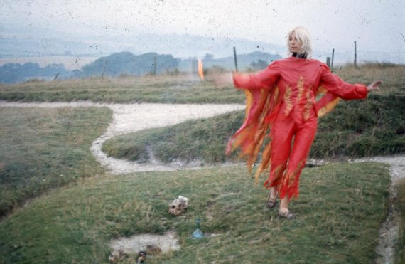 Jill Smith. Fire Ritual at Uffington White Horse. Photo: Bruce Lacey