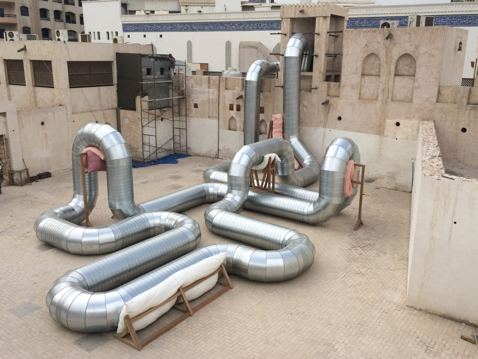 Holly Hendry, Homeostasis, 2014. Installation view at Courtyard C, Sharjah Art Foundation. Courtesy; artist.