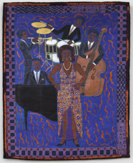 Faith Ringgold, Jazz	Stories: Mama Can Sing,Papa Can Blow #8: Don't Wanna Love You, 2004, acrylic on canvas with pieced border, 205.7 x 162.6 cm, 81 x 64 in, H8935. Courtesy: the artist, Pippy Houldsworth Gallery and ACA Galleries