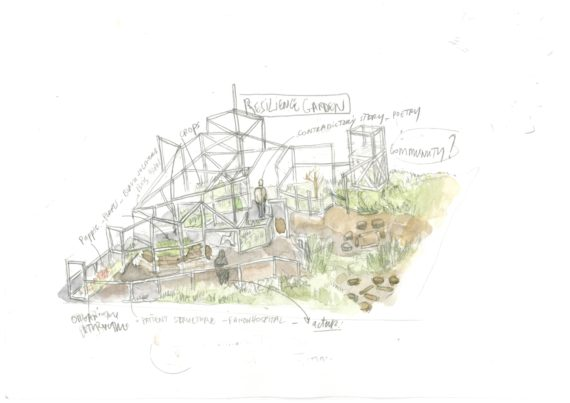Mohamed Bourouissa, Resilience Garden (sketch), 2018. Image courtesy the artist and Kamel Mennour, Paris/London © ADAGP, Paris, 2018.