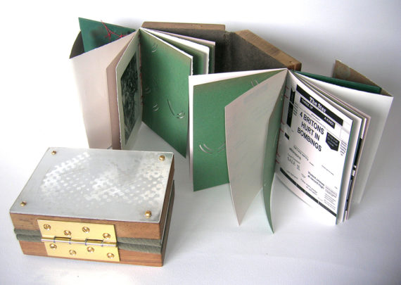 SALT+SHAW, Raft, a wooden book with brass hinges, print of a disaster taken from a 1967 plate and copies of covers from the Sheffield Star [10 year intervals]. Edition of 3, 2009. Photo: Paul Salt