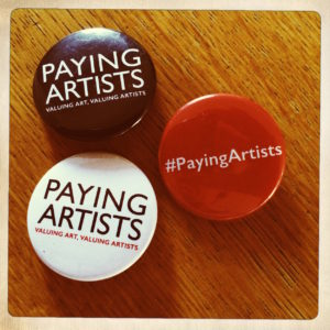 Paying Artists campaign badges. Courtesy: a-n / Paying Artists campaign