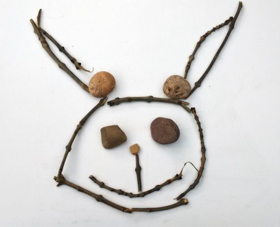 easter bunny made from sticks and stone