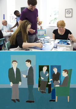Top: Bethlem Gallery art workshops. Courtesy: Bethlem Gallery; Below: David Beales, A New Admission.