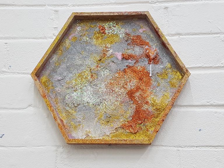 Michaela Hall, Glitter Hex painting, 16x30x30cm, glitter and glue on wood.