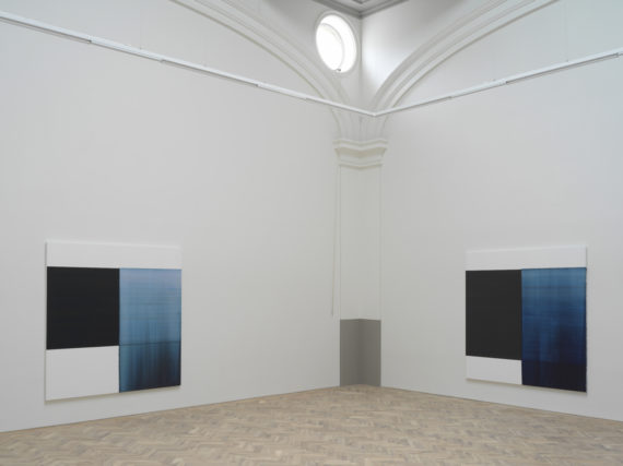 Callum Innes, from left to right, Delft Blue, 2018, oil on linen, 235 x 230cm Oriental Blue, 2018, oil on linen, 235 x 230cm, Ingleby Gallery, Edinburgh. Photo: Tom Nolan; Courtesy: Callum Innes and Ingleby Gallery