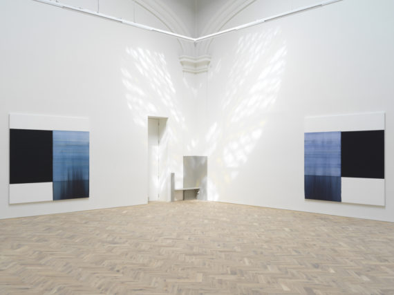 Callum Innes, from left to right, Delft Blue, 2018, oil on linen, 235 x 230cm Oriental Blue, 2018, oil on linen, 235 x 230cm, Ingleby Gallery. Ingleby Gallery, Edinburgh. Photo: Tom Nolan; Courtesy: Callum Innes and Ingleby Gallery