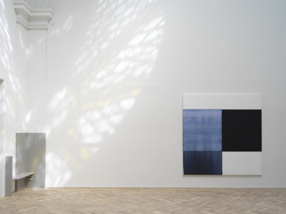 Callum Innes, Oriental Blue, 2018, oil on linen, 235 x 230cm, Ingleby Gallery, Edinburgh. Photo: Tom Nolan; Courtesy: Callum Innes and Ingleby Gallery