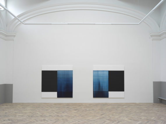 Callum Innes, Oriental Blue, 2018, oil on linen, 235 x 230cm Paris Blue, 2018, oil on linen, 235 x 230cm,  Ingleby Gallery, Edinburgh. Photo: Tom Nolan; Courtesy: Callum Innes and Ingleby Gallery
