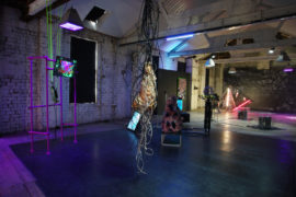 Installation View, Second Nature, 71 Houldsworth Street as part of Glasgow International Festival 2018. Image courtesy of the artists, Home-Platform and Gossamer Fog. Artists: Will Kendrick, Joey Holder, Lewk Wilmshurst, Eva Papamargariti, Christopher MacInnes, Samuel Capps, Diane Edwards, Ben Skea, and Andrew Sunderland.