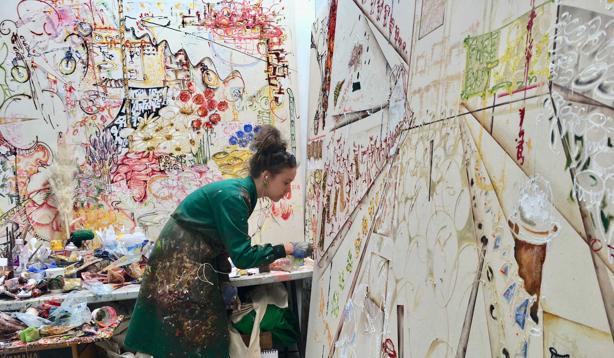 Nell Nicholas in her studio making work for her final show, 2018.