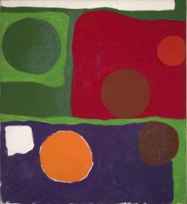Patrick Heron, Five Discs : 1963, 1963,  Oil paint on canvas, Private collection, © Estate of Patrick Heron. All Rights Reserved, DACS 2018