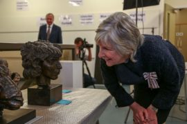 HM Lord Lieutenant of Essex examines an Epstein sculpture. Courtesy: Art UK
