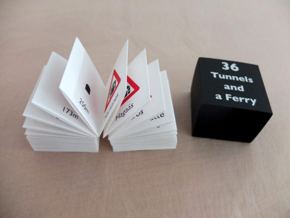 Imi Maufe, 36 Tunnels and a Ferry. Concertina documentation of a bus journey from Bergen to Røldal in Norway, along fjords and over mountain passes. Concertina in slipcase. Hand screenprinted edition of 25