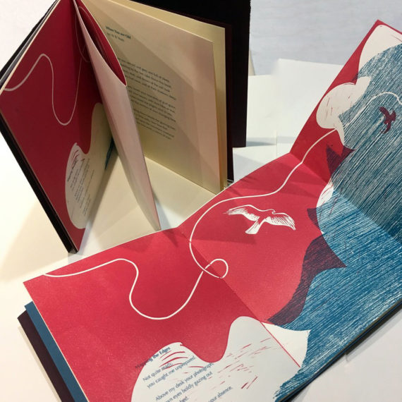 Mavina Baker, Mapping the Edges. Concertina book, wood and linocut with a poem to capture the emotional response to the experience of watching a wild bird of prey. Edition of 10