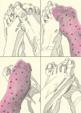 Cally Trench, Feet (2017), Ink and pastel on paper, Each drawing 15 x 10 cm