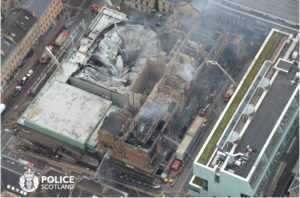 Mackintosh Building, Glasgow School of Art, after 15 June 2018 fire. Photo: Police Scotland via @polscotair