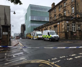 Police cordon around Glasgow School of Art on Sunday 17 June 2018, shortly after the fire that took hold on 15 June. Photo: Chris Sharratt
