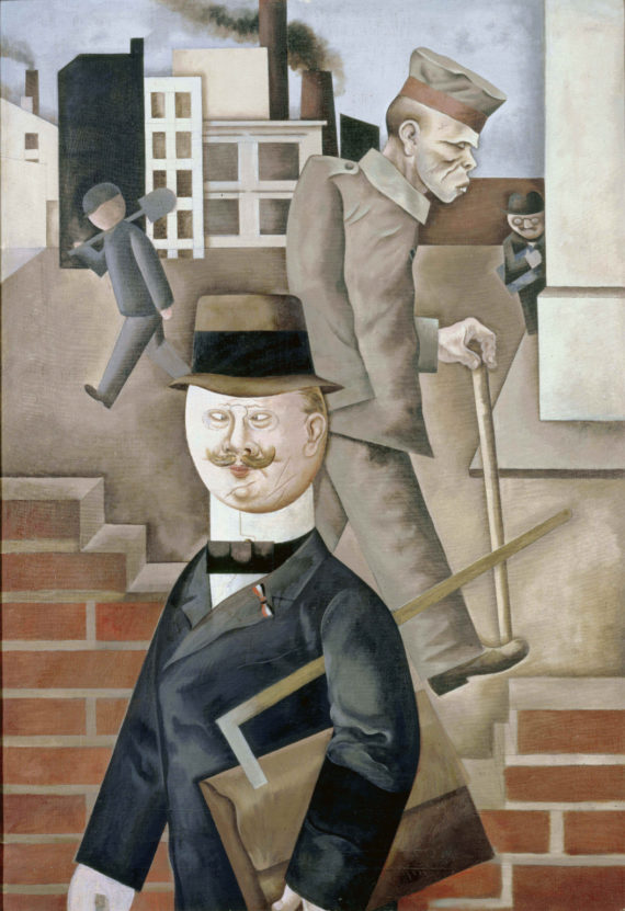 George  Grosz, Grey  Day, 115x 80cm, oil  paint  on  canvas, 1921. Staatliche  Museen  zu  Berlin,  Nationalgalerie, acquired  by  the  Federal  State  of  Berlin. © Estate  of  George  Grosz,  Princeton, NJ  2018