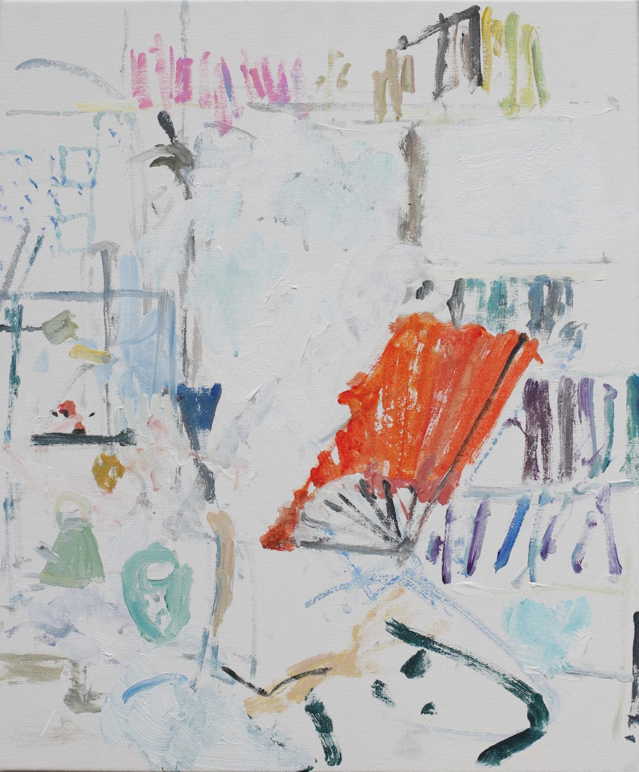 Nick Trench, Caroline with Fan I (2017), Acrylic on canvas, 51 x 61 cm