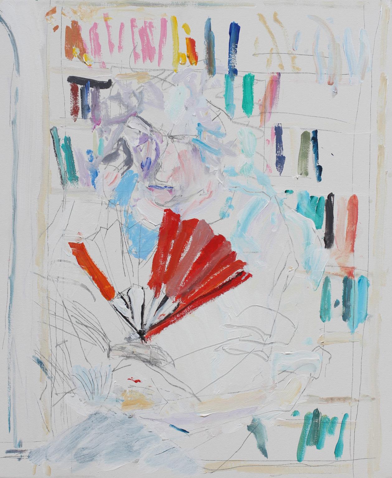 Nick Trench, Caroline with Fan III (2018), Acrylic on canvas, 51 x 61 cm