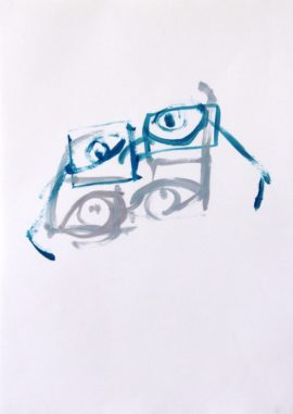 Nick Trench, Four Eyes (2015), Oil on paper, 29.5 x 42 cm