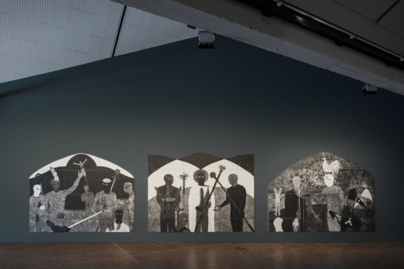 Belkis Ayón, installation view, 10th Berlin Biennale, Akademie der Künste (Hanseatenweg), Berlin, from left to right; La consagración [The Consecration], 1991, triptych, part I, monoprint on paper, collection Ludwig-Museum at the Russian Museum, St. Petersburg; La consagración [The Consecration], 1991, triptych, part II, monoprint on paper, collection Ludwig-Museum at the Russian Museum, St. Petersburg; La consagración [The Consecration], 1991, triptych, part III, monoprint on paper, collection Ludwig-Museum at the Russian Museum, St. Petersburg, photo: Timo Ohler