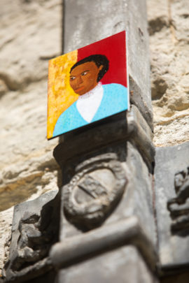 Lubaina Himid, Miniature paintings and motifs in the Stone Court, 2018,  'A Woman's Place at Knole', Knole National Trust, Sevenoaks, Kent. Photo: Ciaran McCrickard / National Trust