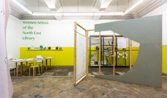 Women Artists of the North East Library, installation view at Workplace Foundation, Gateshead, 2018. Photo: Miles Thurlow.