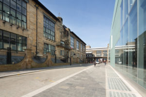 Glasgow School of Art Mackintosh and Reid Buildings, photographed 15 April 2015, prior to first fire. Photo: McAteer Photograph. Attribution-NonCommercial-NoDerivs 2.0 Generic (CC BY-NC-ND 2.0)