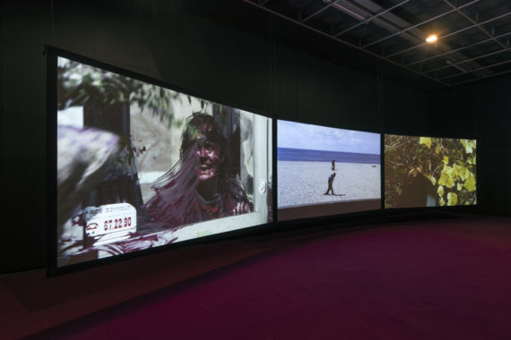 Agnès  Varda, 3  moving  images. 3  rhythms. 3  sounds,  2018. Installation  view  at  FACT as part of Liverpool  Biennial  2018 'Beautiful  world,  where  are  you?' Photo: Thierry  Bal
