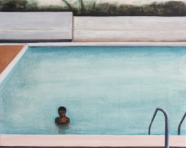 Matthew Krishanu, Swimming Pool, 2018, oil on canvas, 60x75cm