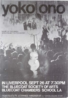 The flyer for a Yoko Ono event at Bluecoat from the My Bluecoat archive