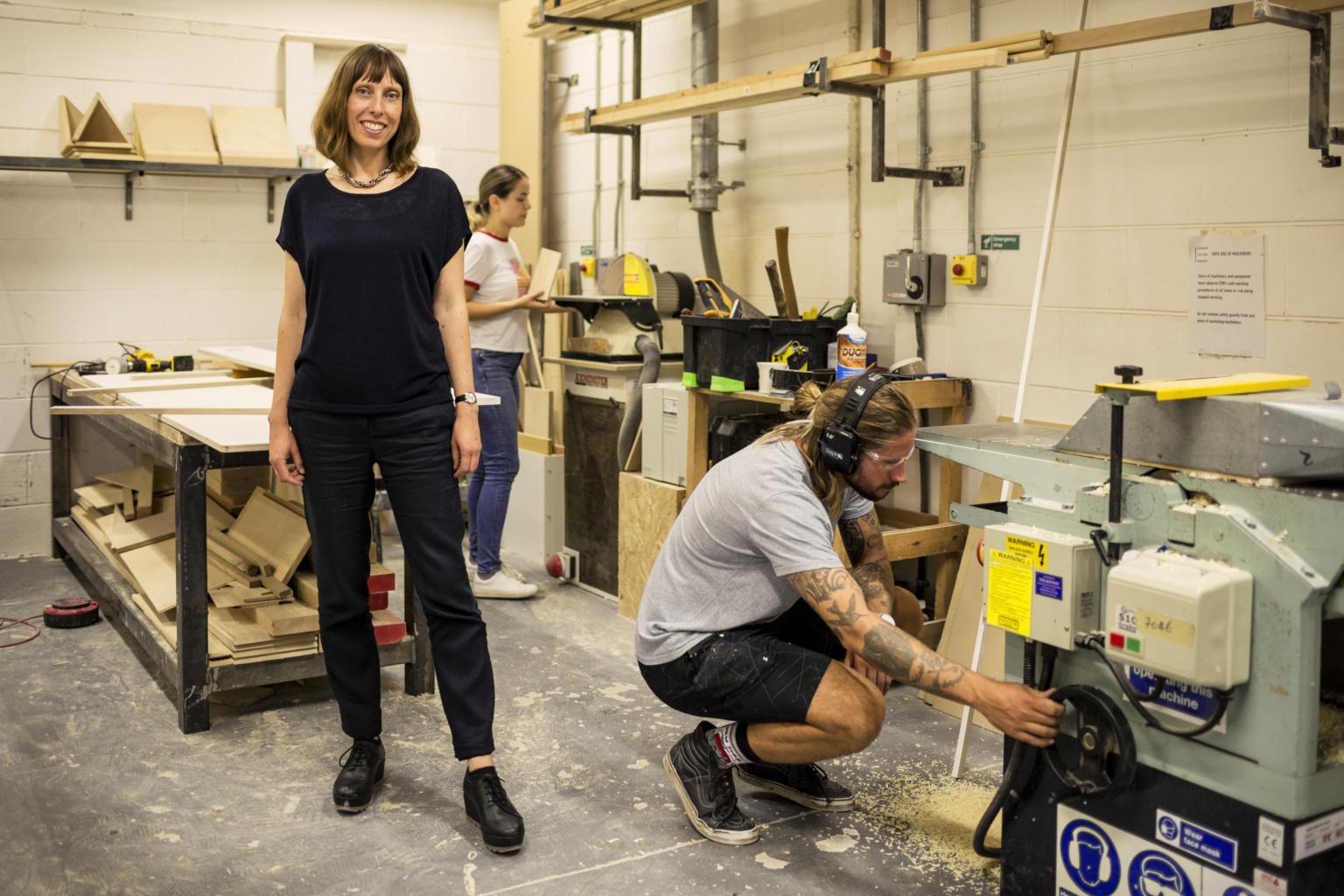 New director Laura Simpson and two Edinburgh Sculpture Workshop members. Photo: Ross Fraser McLean / StudioRoRo