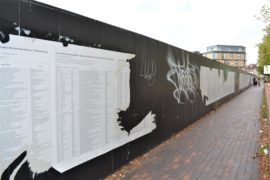 The List of 34,361 documented deaths of asylum seekers, refugees and migrants who have lost their lives within or on the borders of Europe since 1993. Documentation as of 5 May 2018 by UNITED for Intercultural Action. Facilitated by Banu Cennetoğlu. Presented at Great George Street, Liverpool Biennial 2018. Photo taken 14 August 2018.