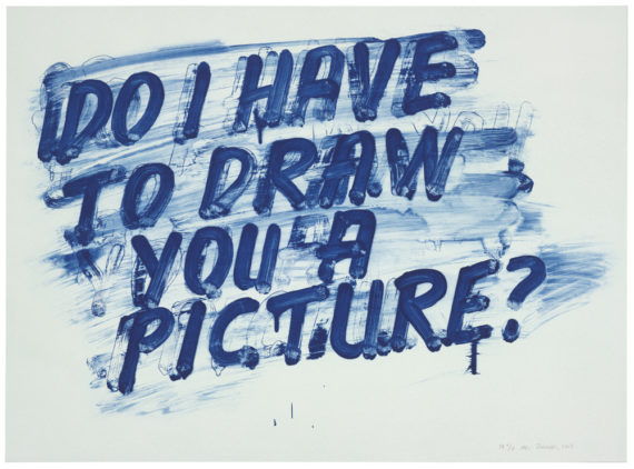 Do I Have to Draw You a Picture, 2013 Etching with aquatint printed in blue on white wove paper, 56.5 × 77 cm. © Mel Bochner. Collection: The British Museum.