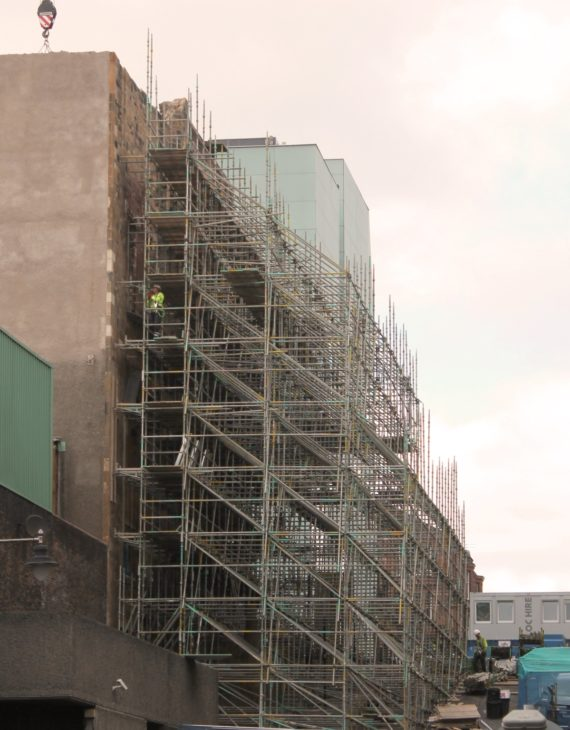Shoring scaffolding on Dalhousie Street at 6.30pm on Monday 6 August
