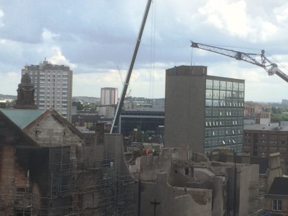 Work continues on the north east corner of the Mackintosh Building. Courtesy: Glasgow School of Art
